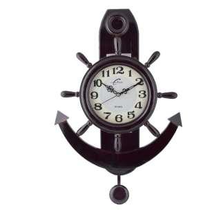 Часы настенные деревянные якорь 60х41х10 см темно-коричневые