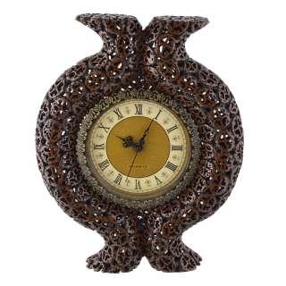 часы настенные круглые по ореховый срез с выступом, 39см
