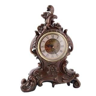 Часы настольные каминные цветы 31х23х10 см под бронзу