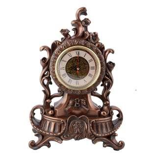 Часы настольные каминные вьющиеся цветы 34х24,5х14 см под бронзу
