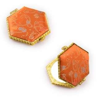 Зеркало косметическое шестиугольное в китайском стиле 8см оранжевое