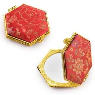 Зеркало косметическое шестиугольное в китайском стиле 8см красное