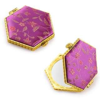 Зеркало косметическое шестиугольное в китайском стиле 8см фиолетовое