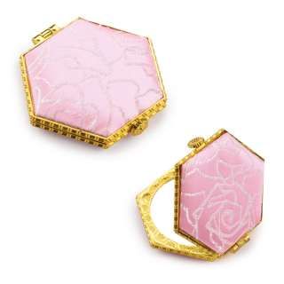 Зеркало косметическое шестиугольное в китайском стиле 8см розовое