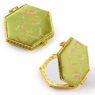 Зеркало косметическое шестиугольное в китайском стиле 8см салатовое