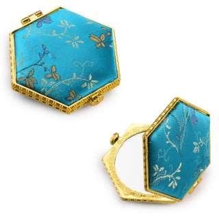 Зеркало косметическое шестиугольное в китайском стиле 8см бирюзовое