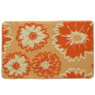 Коврик для ванной прорезиненная основа 50х80 см бежевый, оранжевые цветы