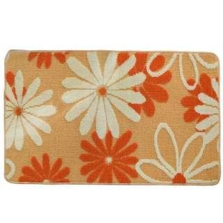 Коврик для ванной прорезиненная основа 50х80 см бежевый, белые, оранжевые цветы