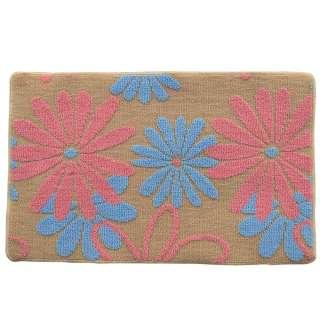 Коврик для ванной прорезиненная основа 50х80 см бежевый, розовые, голубые цветы