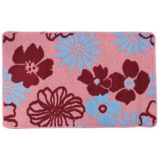 Коврик для ванной прорезиненная основа 50х80 см розовый, бордовые, голубые цветы
