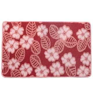 Коврик для ванной прорезиненная основа 50х80 см розовый, розовые цветы