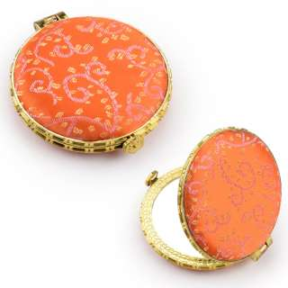 Зеркало косметическое круглое в китайском стиле 8см оранжевое