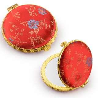 Зеркало косметическое круглое в китайском стиле 8см красное