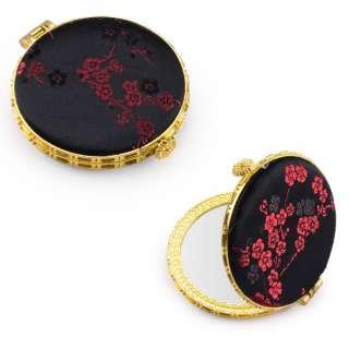 Зеркало косметическое круглое в китайском стиле 8см черное