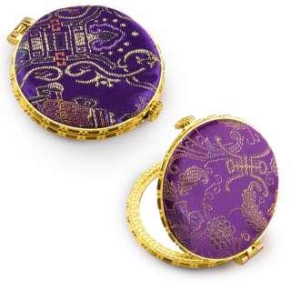 Зеркало косметическое круглое в китайском стиле 8см фиолетовое