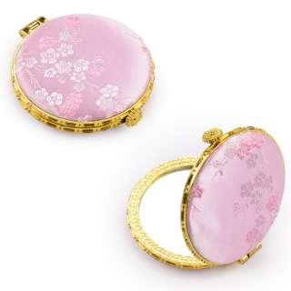 Зеркало косметическое круглое в китайском стиле 8см розовое