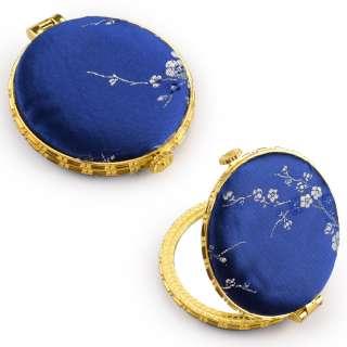 Зеркало косметическое круглое в китайском стиле 8см синее