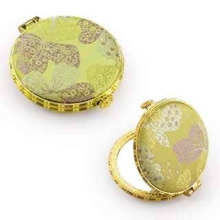 Зеркало косметическое круглое в китайском стиле 8см салатовое