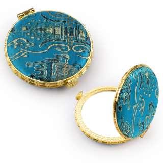Зеркало косметическое круглое в китайском стиле 8см бирюзовое