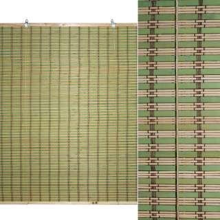 Ролеты из бамбуковой соломки debel 90х120 см полоски натуральные и зеленые