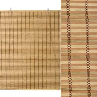Ролеты из бамбуковой соломки debel 90х120 см полоски натуральные и коричневые