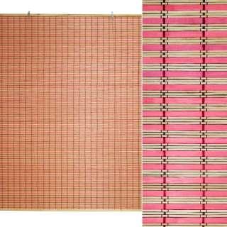 Ролеты из бамбуковой соломки debel 120х150 см полоски натуральные и розовые