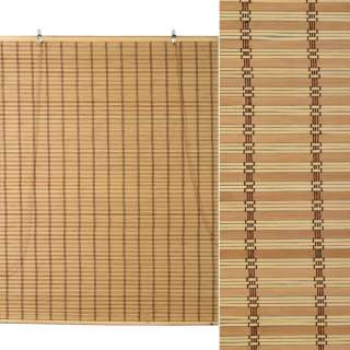 Ролеты из бамбуковой соломки debel 150х180 см полоски натуральные бежево-темные