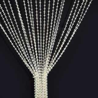 Штора декоративная пластик мелкие бусинки 80х175 см белая