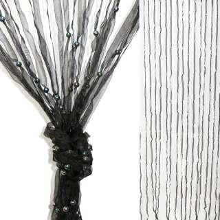 Штора декоративная из капроновой тесьмы 80х175 см черная