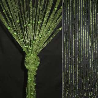 Штора декоративная из капроновой тесьмы 80х175 см оливковая