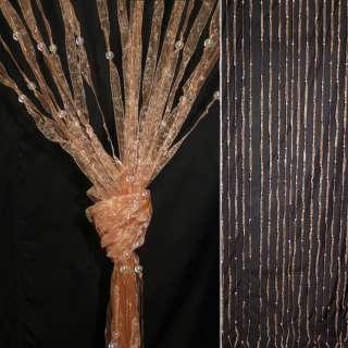 Штора декоративная из капроновой тесьмы 80х175 см персиковая