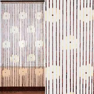 Дверная шторка деревянная 90х180 см круги коричнево-бежевая