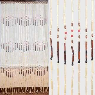 Дверная шторка деревянная 90х180см орнамент бежево-коричневая