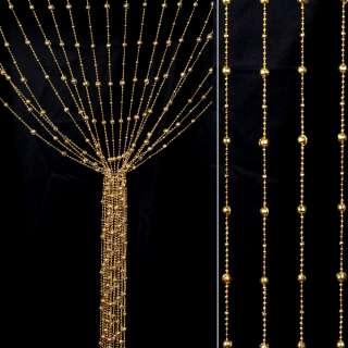 Штора декоративная пластик граненый шарик 80х175 см золотистая светлая