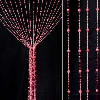 Штора декоративная пластик граненый шарик 80х175 см розовая яркая