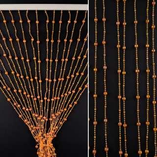 Штора декоративная пластик граненый шарик 80х175 см оранжевая темная
