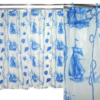 занавеска для душа белая с синим абстр. рисунком, 183х183