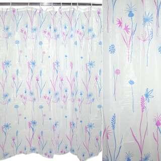 занавеска для душа белая с розово-синим рисунком, 183х183