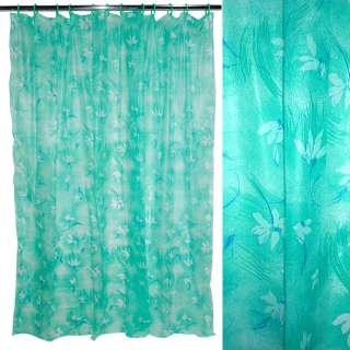 занавеска для ванной комнаты зеленая с цветами, 182х182