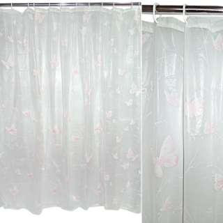 занавеска для ванной комнаты белая с роз. бабочка, 182х182