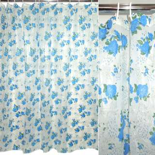 занавеска для ванной комнаты белая с синими цвета, 182х182