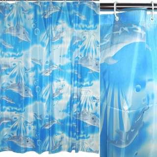 штора д/ванной голубая с дельфинами, 170х180
