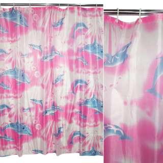 штора д/ванной малиновая с дельфинами, 170х180