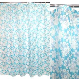 штора д/ванной голубая с белыми ромашками, 170х180