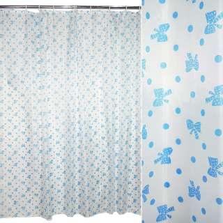 штора д/ванной белая в голубой горох и бантики, 178х178