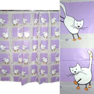 штора д/ванной комнаты сиренево-белая с котами, 178х183