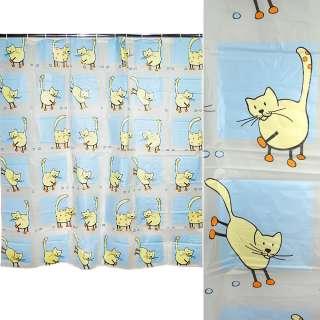 штора д/ванной комнаты бело-голубая с котами, 178х183