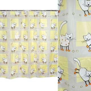 штора д/ванной комнаты желто-белая с котами, 178х183