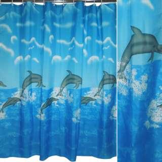 штора д/ванной комнаты голубая с дельфинами, 178х183