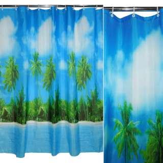штора д/ванной комнаты голубая с пальмами, 178х183